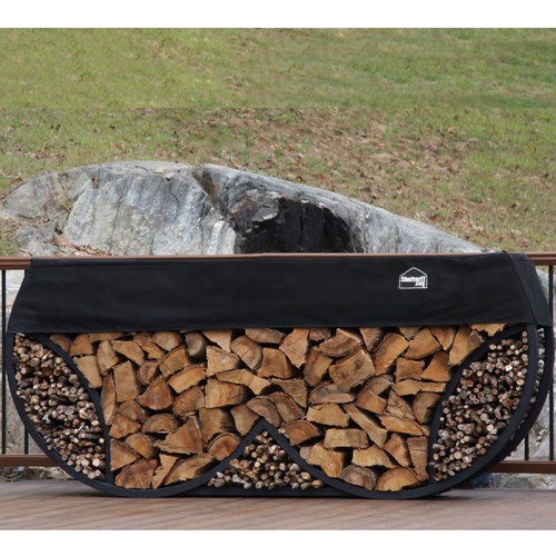 SHELTER-IT 8' Double Round Firewood Storage Rack with Kindling Storage - 1' Cover Included