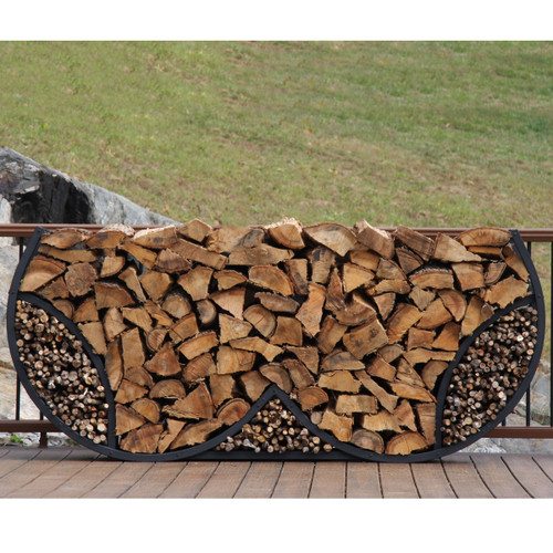SHELTER-IT 8' Double Round Firewood Storage Rack with Kindling Storage - No Cover