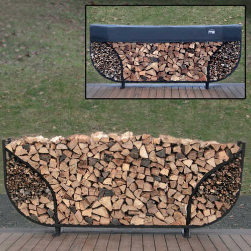 SHELTER-IT 8' Double Leaf Firewood Storage Rack with Kindling Storage - 1' Cover Included