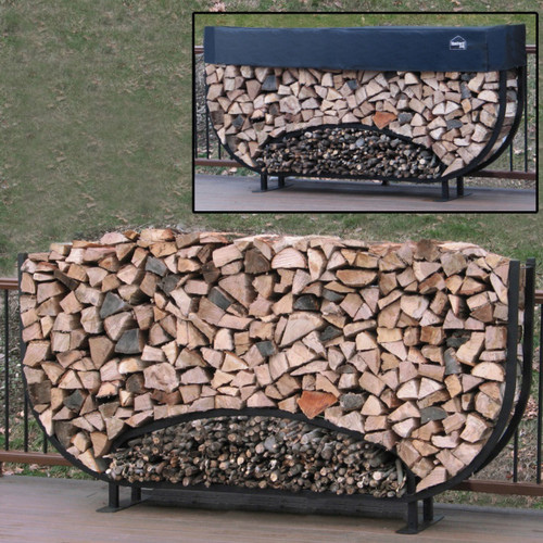 SHELTER-IT 8' Oval Firewood Storage Rack with Kindling Storage - 1' Cover Included