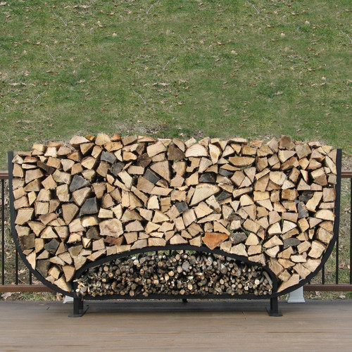SHELTER-IT 8' Oval Firewood Storage Rack with Kindling Storage - No Cover