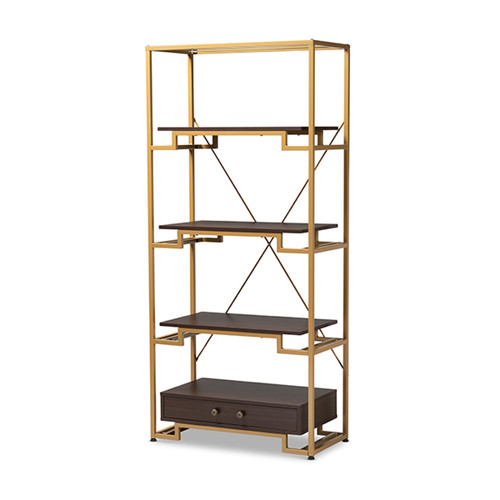 Baxton Studio Cerelia Modern and Contemporary Gold-Tone Steel and  Brown Finished Wood 3-Shelf Accent Bookcase with Drawer