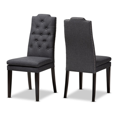 Baxton Studio Dylin Modern and Contemporary Charcoal Fabric Upholstered Button Tufted Wood Dining Chair Set of 2