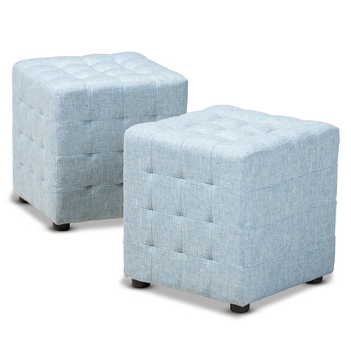 Baxton Studio Elladio Modern and Contemporary Light Blue Fabric Upholstered Tufted Cube Ottoman Set of 2