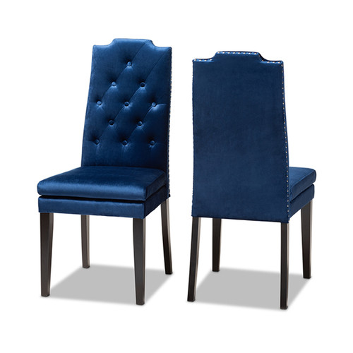 Baxton Studio Dylin Modern and Contemporary Navy Blue Velvet Fabric Upholstered Button Tufted Wood Dining Chair Set of 2