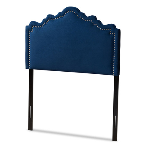 Baxton Studio Nadeen Modern and Contemporary Royal Blue Velvet Fabric Upholstered Twin Size Headboard