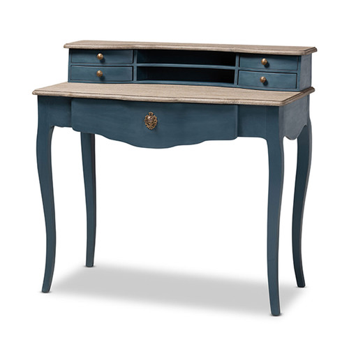 Baxton Studio Celestine French Provincial Blue Spruce Finished Wood Accent Writing Desk