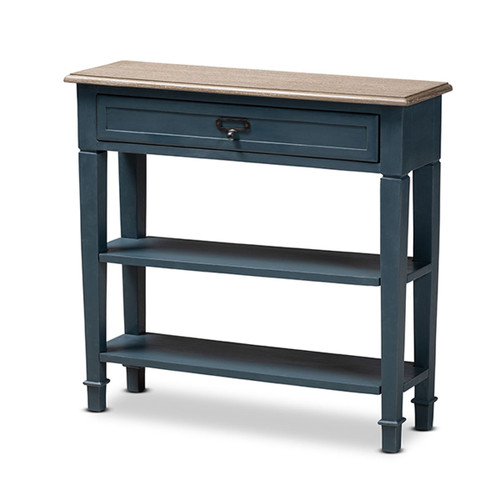 Baxton Studio Dauphine French Provincial Blue Spruce Fiinished Wood Accent Console Table
