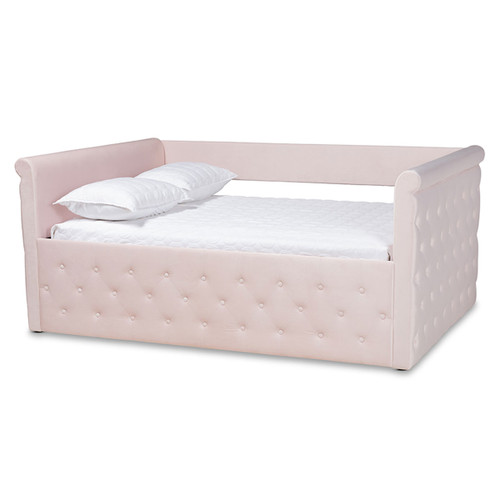 Baxton Studio Amaya Modern and Contemporary Light Pink Velvet Fabric Upholstered Full Size Daybed