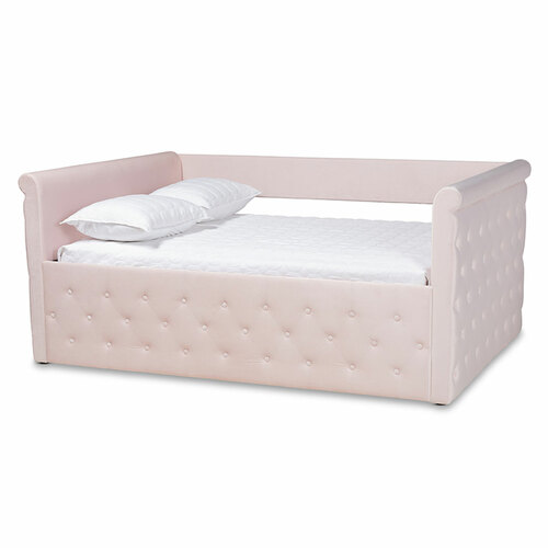 Baxton Studio Amaya Modern and Contemporary Light Pink Velvet Fabric Upholstered Queen Size Daybed