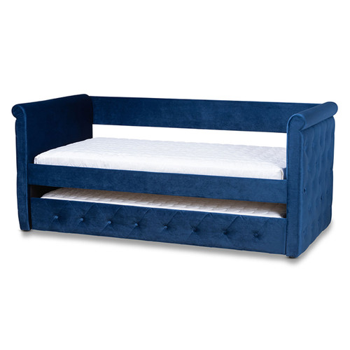 Baxton Studio Amaya Modern and Contemporary Navy Blue Velvet Fabric Upholstered Twin Size Daybed with Trundle