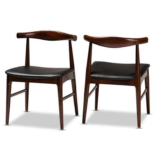 Baxton Studio Eira Mid-Century Modern Black Faux Leather Upholstered Walnut Finished Wood Dining Chair Set of 2