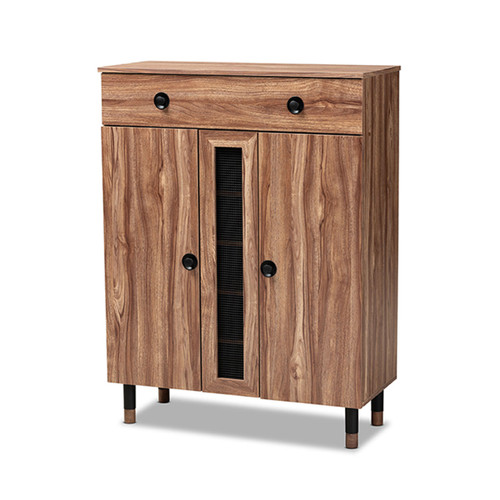 Baxton Studio Valina Modern and Contemporary 2-Door Wood Entryway Shoe Storage Cabinet with Drawer