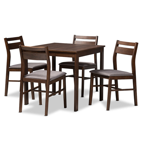 Baxton Studio Lovy Modern and Contemporary Gray Fabric Upholstered  Walnut-Finished 5-Piece Wood Dining Set