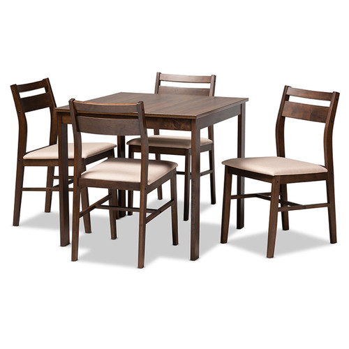 Baxton Studio Lovy Modern and Contemporary Beige Fabric Upholstered  Walnut-Finished 5-Piece Wood Dining Set