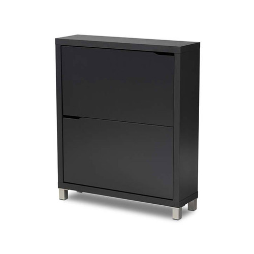 Baxton Studio Simms Modern and Contemporary  Grey Finished Wood Shoe Storage Cabinet with 4 Fold-Out Racks