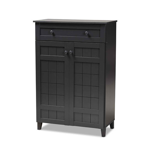 Baxton Studio Glidden Modern and Contemporary  Grey Finished 5-Shelf Wood Shoe Storage Cabinet with Drawer
