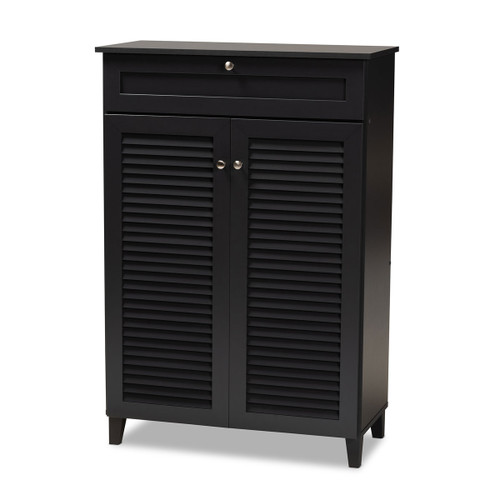 Baxton Studio Coolidge Modern and Contemporary  Grey Finished 5-Shelf Wood Shoe Storage Cabinet with Drawer