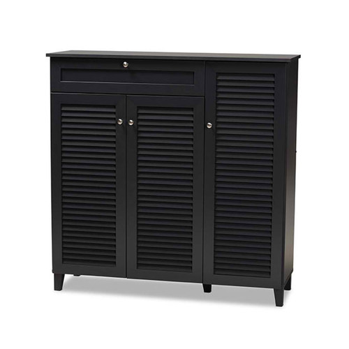 Baxton Studio Coolidge Modern and Contemporary  Grey Finished 11-Shelf Wood Shoe Storage Cabinet with Drawer