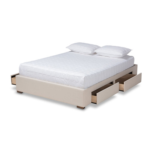 Baxton Studio Leni Modern and Contemporary Beige Fabric Upholstered 4-Drawer Queen Size Platform Storage Bed Frame