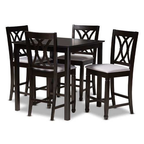 Baxton Studio Reneau Modern and Contemporary Gray Fabric Upholstered Espresso Brown Finished 5-Piece Wood Pub Set