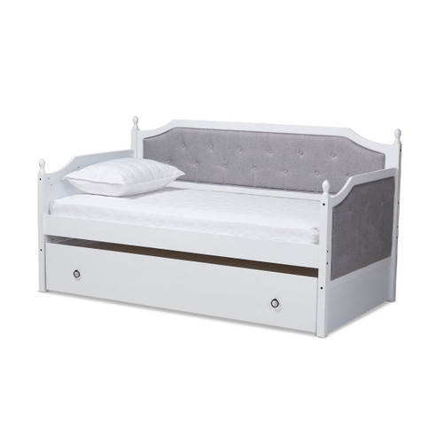 Baxton Studio Mara Classic and Traditional Grey Fabric Upholstered White Finished Wood Twin Size Daybed with Trundle