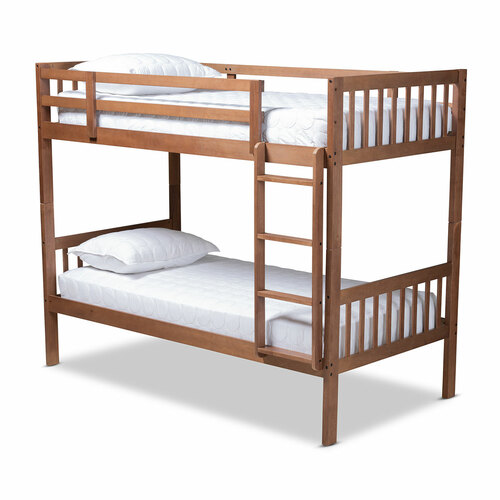 Baxton Studio Jude Modern and Contemporary Walnut Brown Finished Wood Twin Size Bunk Bed