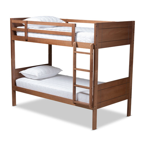 Baxton Studio Elsie Modern and Contemporary Walnut Brown Finished Wood Twin Size Bunk Bed