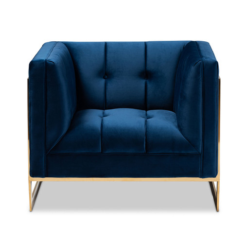 Baxton Studio Ambra Glam and Luxe Royal Blue Velvet Fabric Upholstered and Button Tufted Armchair with Gold-Tone Frame