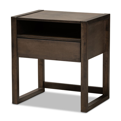 Baxton Studio Inicio Modern and Contemporary Charcoal Brown Finished 1-Drawer Wood Nightstand