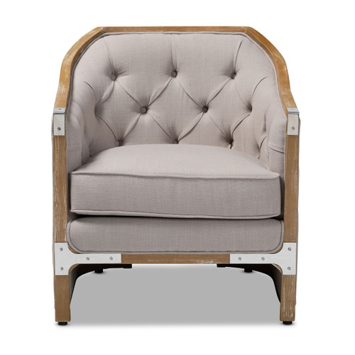 Baxton Studio Terina French Country Industrial Grey-Beige Fabric Upholstered Whitewashed Oak Wood Armchair with Metal Accents