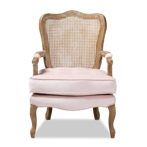 Baxton Studio Vallea Traditional French Provincial Light Pink Velvet Fabric Upholstered White-Washed Oak Wood Armchair