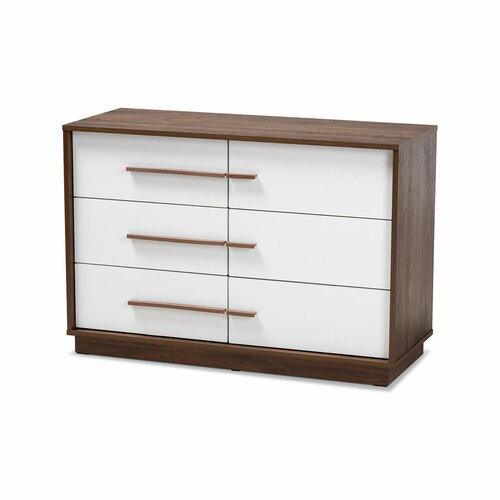Baxton Studio Mette Mid-Century Modern Two-Tone White and Walnut Finished 6-Drawer Wood Dresser