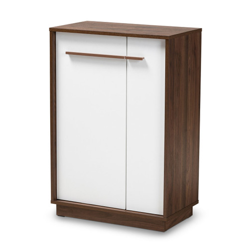 Baxton Studio Mette Mid-Century Modern Two-Tone White and Walnut Finished 5-Shelf Wood Entryway Shoe Cabinet