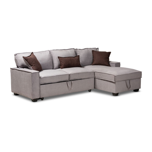 Baxton Studio Emile Modern and Contemporary Light Grey Fabric Upholstered Right Facing Storage Sectional Sofa with Pull-Out Bed