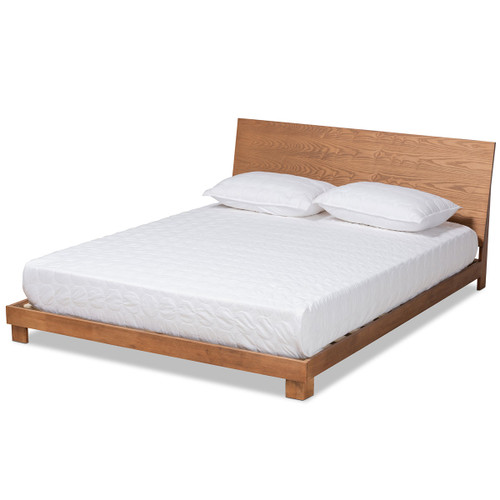 Baxton Studio Haines Modern and Contemporary Walnut Brown Finished Wood Queen Size Platform Bed