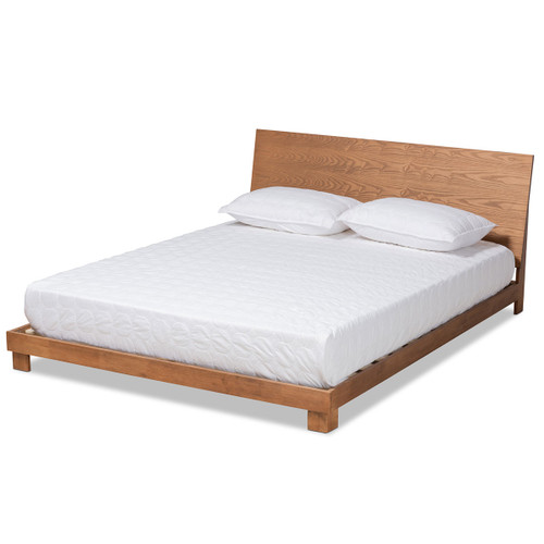 Baxton Studio Haines Modern and Contemporary Walnut Brown Finished Wood King Size Platform Bed