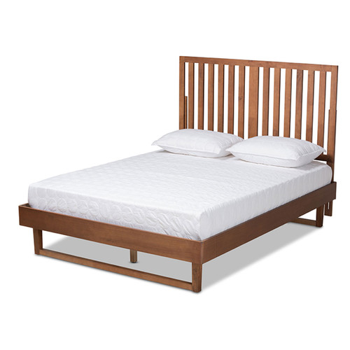 Baxton Studio Marin Modern and Contemporary Walnut Brown Finished Wood Full Size Platform Bed