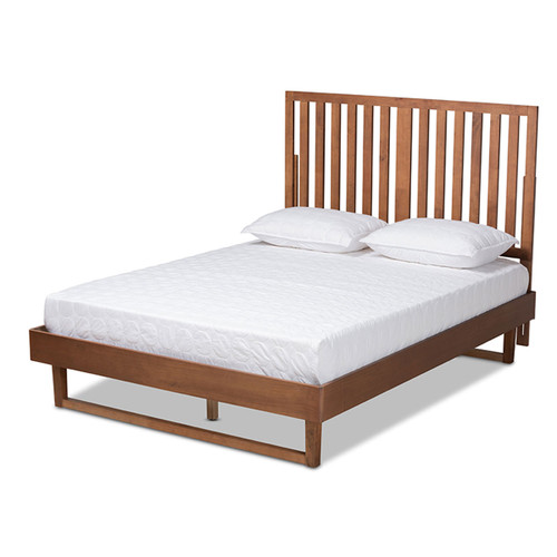 Baxton Studio Marin Modern and Contemporary Walnut Brown Finished Wood King Size Platform Bed
