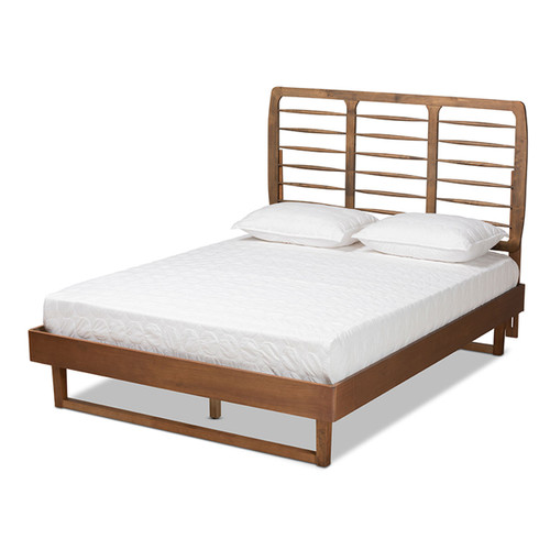 Baxton Studio Lucie Modern and Contemporary Walnut Brown Finished Wood Queen Size Platform Bed