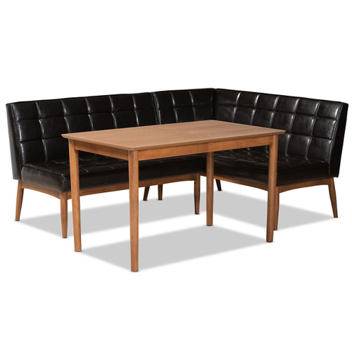 Baxton Studio Sanford Mid-Century Modern Dark Brown Faux Leather Upholstered and Walnut Brown Finished Wood 3-Piece Dining Nook Set