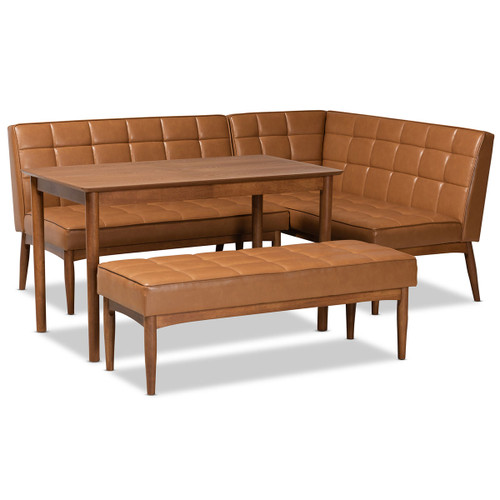 Baxton Studio Sanford Mid-Century Modern Tan Faux Leather Upholstered and Walnut Brown Finished Wood 4-Piece Dining Nook Set