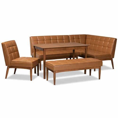 Baxton Studio Sanford Mid-Century Modern Tan Faux Leather Upholstered and Walnut Brown Finished Wood 5-Piece Dining Nook Set