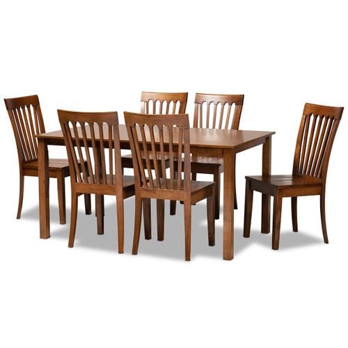 Baxton Studio Erion Modern and Contemporary Walnut Brown Finished Wood 7-Piece Dining Set