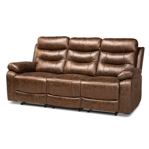 Baxton Studio Beasely Modern and Contemporary Distressed Brown Faux Leather Upholstered 3-Seater Reclining Sofa