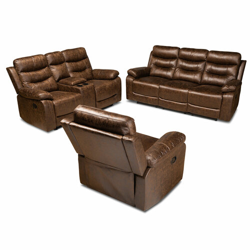 Baxton Studio Beasely Modern and Contemporary Distressed Brown Faux Leather Upholstered 3-Piece Living Room Set