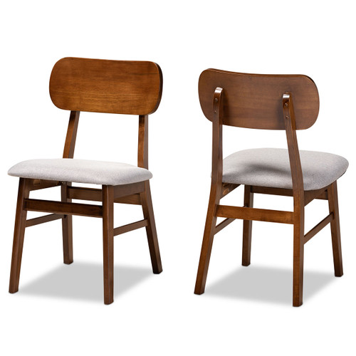 Baxton Studio Euclid Mid-Century Modern Grey Fabric Upholstered and Walnut Brown Finished Wood 2-Piece Dining Chair Set