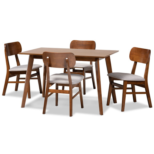 Baxton Studio Euclid Mid-Century Modern Grey Fabric Upholstered and Walnut Brown Finished Wood 5-Piece Dining Set