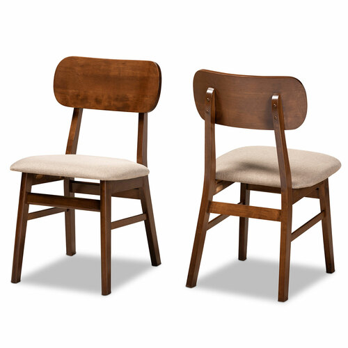 Baxton Studio Euclid Mid-Century Modern Sand Fabric Upholstered and Walnut Brown Finished Wood 2-Piece Dining Chair Set