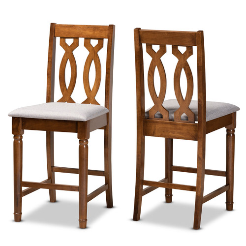 Baxton Studio Darcie Modern and Contemporary Grey Fabric Upholstered and Walnut Brown Finished Wood 2-Piece Counter Stool Set